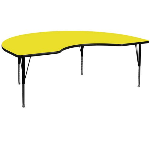 48 In. W x 72 In. L Kidney Shaped Activity Table with 1.25 In. Thick High Pressure Yellow Laminate Top and Height Adjustable