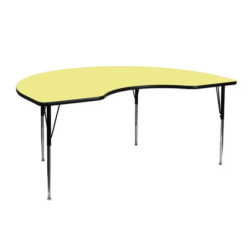 48 In. W x 72 In. L Kidney Shaped Activity Table with Yellow Thermal Fused Laminate Top and Standard Height Adjustable Legs