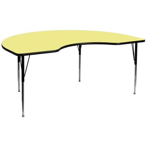 Parkside 48 In. W x 96 In. L Kidney Shaped Activity Table with Yellow Thermal Fused Laminate Top and Standard Height