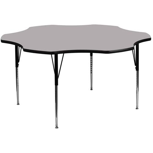 Parkside 60 In. Flower Shaped Activity Table with Grey Thermal Fused Laminate Top and Standard Height Adjustable Legs