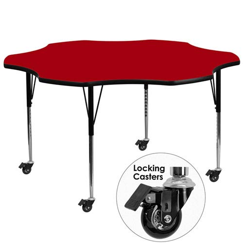 Parkside Mobile 60 In. Flower Shaped Activity Table with Red Thermal Fused Laminate Top and Standard Height Adjustable Legs