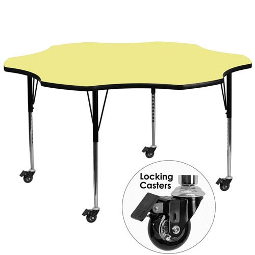 Parkside Mobile 60 In. Flower Shaped Activity Table with Yellow Thermal Fused Laminate Top and Standard Height Adjustable