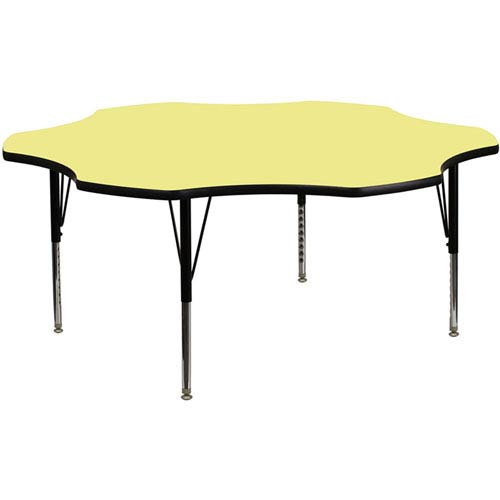 Parkside 60 In. Flower Shaped Activity Table with Yellow Thermal Fused Laminate Top and Height Adjustable Preschool Legs