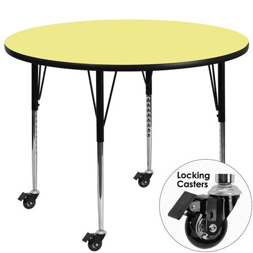 Mobile 60 In. Round Activity Table with Yellow Thermal Fused Laminate Top and Standard Height Adjustable Legs