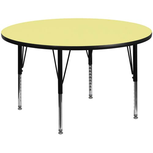 Parkside 60 In. Round Activity Table with Yellow Thermal Fused Laminate Top and Height Adjustable Preschool Legs