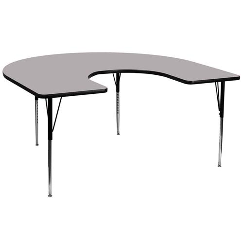 Parkside 60 In. W x 66 In. L Horseshoe Shaped Activity Table with Grey Thermal Fused Laminate Top and Standard Height