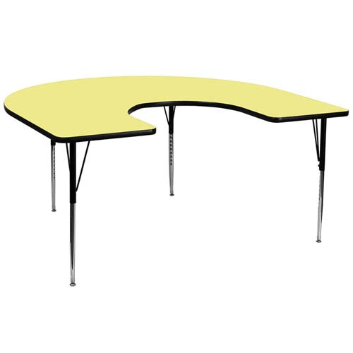 60 In. W x 66 In. L Horseshoe Shaped Activity Table with Yellow Thermal Fused Laminate Top and Standard Height Adjustable