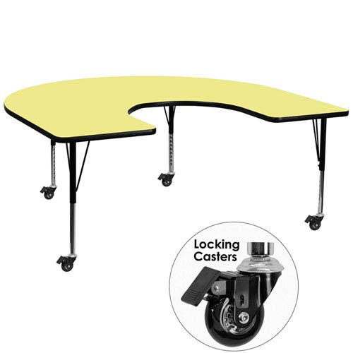 Parkside Mobile 60 In. W x 66 In. L Horseshoe Shaped Activity Table with Yellow Thermal Fused Laminate Top and Height