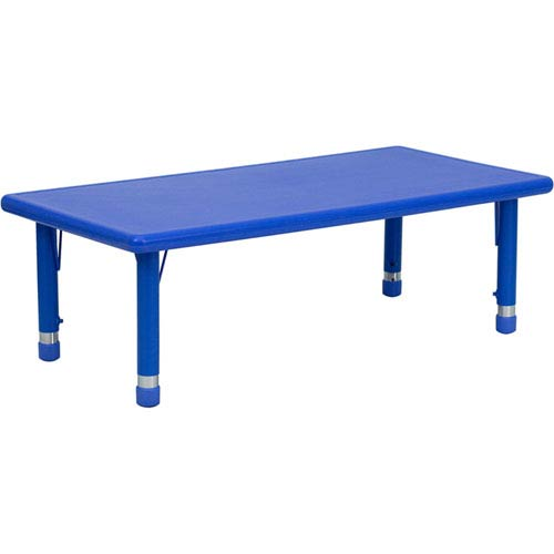 Parkside 24 In. W x 48 In. L Height Adjustable Rectangular Blue Plastic Activity Table