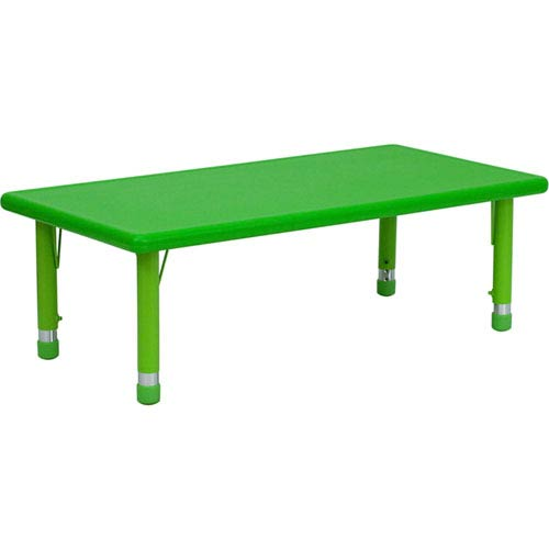 24 In. W x 48 In. L Height Adjustable Rectangular Green Plastic Activity Table