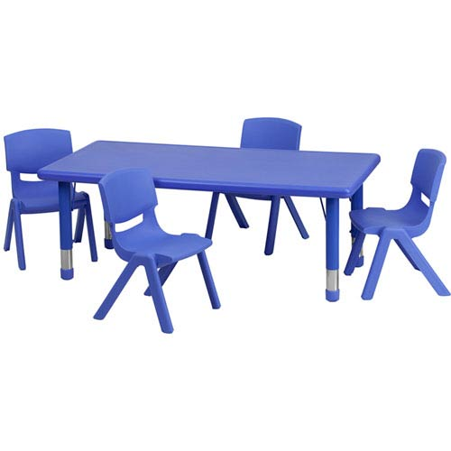 Parkside 24 In. W x 48 In. L Adjustable Rectangular Blue Plastic Activity Table Set with 4 School Stack Chairs