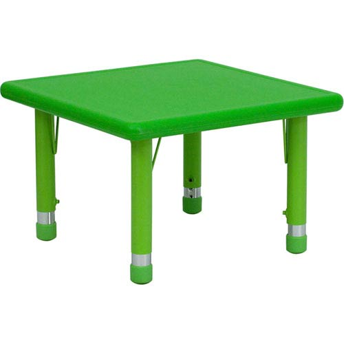 Parkside 24 In. Square Height Adjustable Green Plastic Activity Table