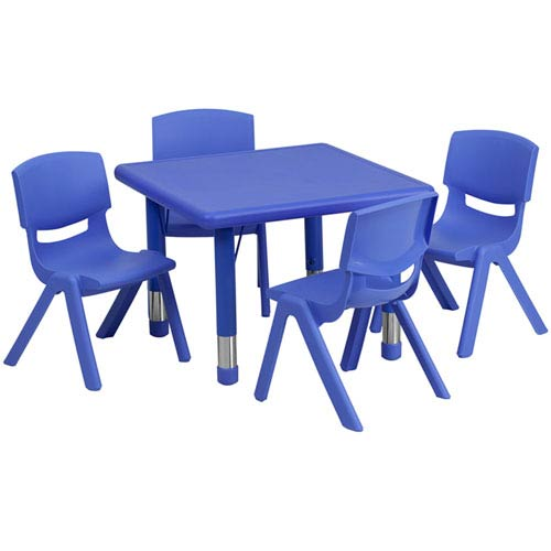 Parkside 24 In. Square Adjustable Blue Plastic Activity Table Set with 4 School Stack Chairs