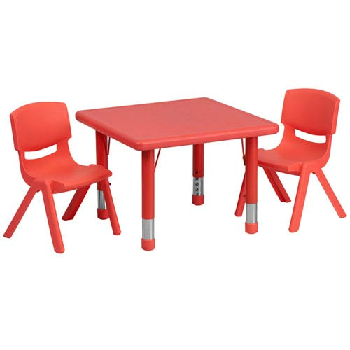 24 In. Square Adjustable Red Plastic Activity Table Set with 2 School Stack Chairs