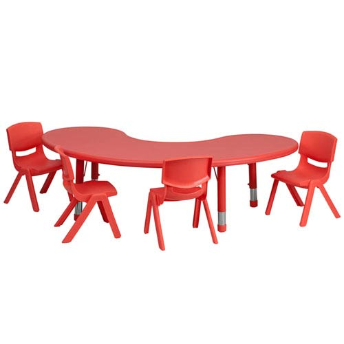 Parkside 35 In. W x 65 In. L Adjustable Half-Moon Red Plastic Activity Table Set with 4 School Stack Chairs