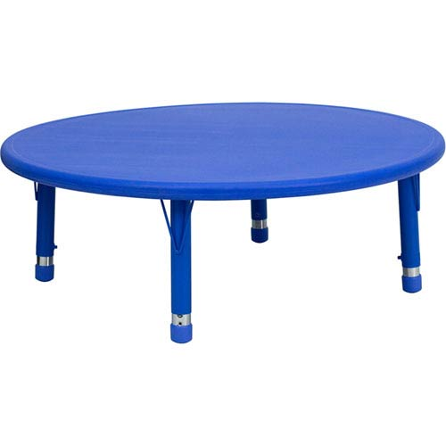 45 In. Round Height Adjustable Blue Plastic Activity Table