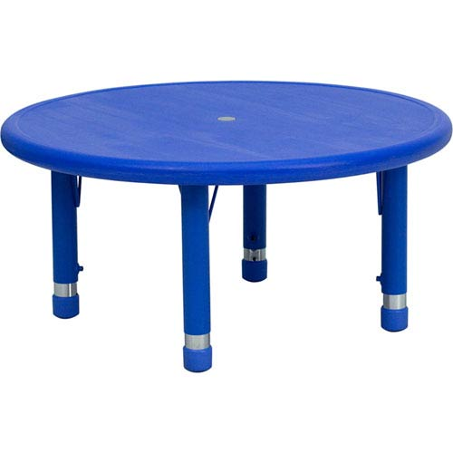 33 In. Round Height Adjustable Blue Plastic Activity Table