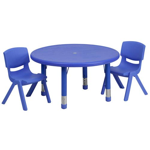 33 In. Round Adjustable Blue Plastic Activity Table Set with 2 School Stack Chairs