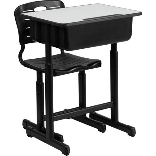 Adjustable Height Student Desk and Chair with Black Pedestal Frame