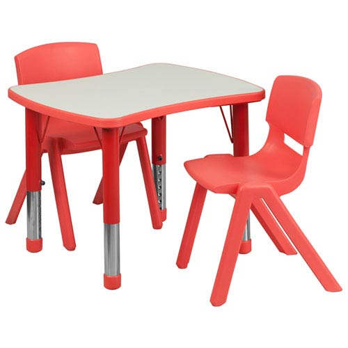 Parkside 21.88 In. W x 26.63 In. L Adjustable Rectangular Red Plastic Activity Table Set with 2 School Stack Chairs
