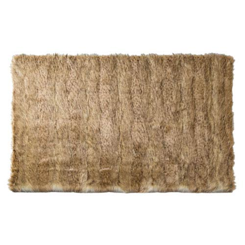 Platinum Frost Faux Fur Rectangular: 3 Ft. 4 In. x 4 Ft. 10 In. Accent Rug
