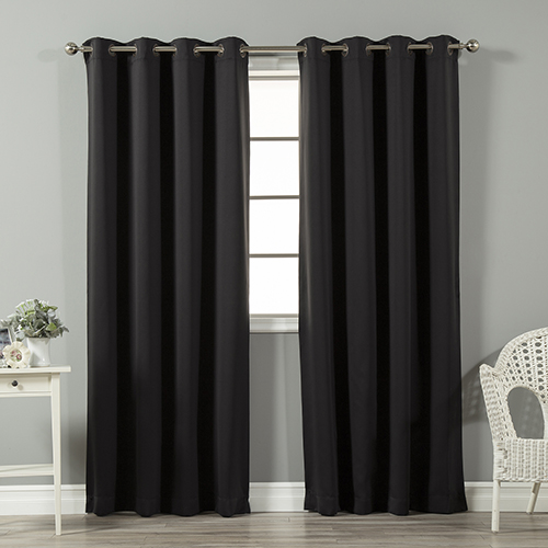 Black 120 x 52 In. In. Thermal Insulated Blackout Curtain Panel