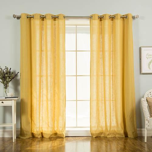 Rose Street Mustard Faux Linen 84 x 52 In. Curtain Panel
