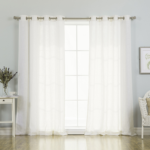 Rose Street Bright White Faux Linen 84 x 52 In. Curtain Panel