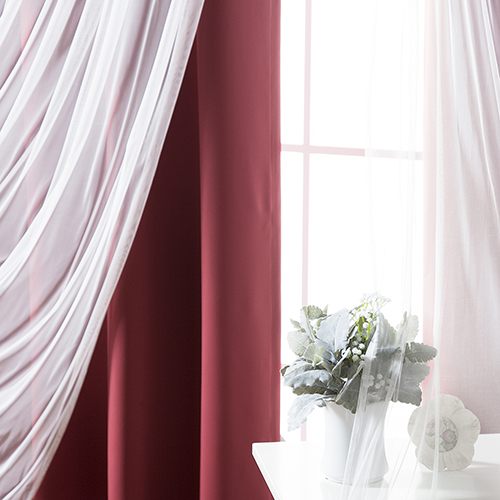Rose Street Burgundy 52 x 63 In. Sheer Lace and Blackout Window Treatments, Set of Four
