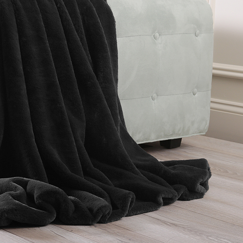 Luxe Faux Black Fur Throw
