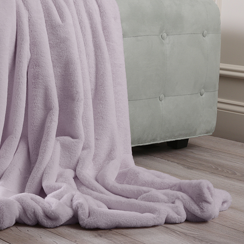 Luxe Faux Lavender Fur Throw