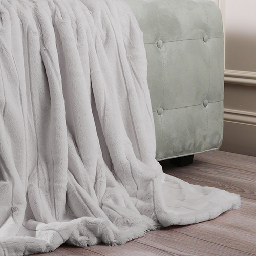 Luxe Faux Mink Grey Throw