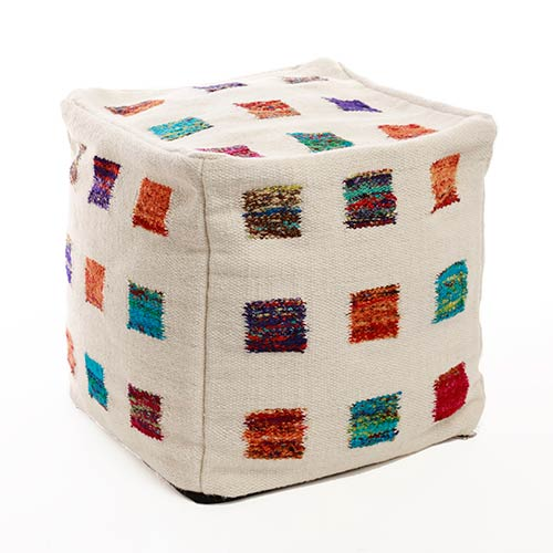 Wool Multicolor Square 18 In. Pouf