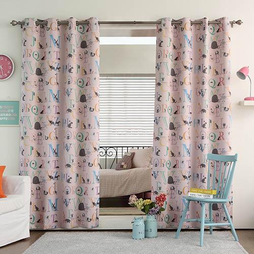 Pink Alphabet Print 52 x 84 In. Room Darkening Curtain Panel