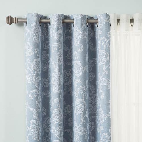 Light Blue Floral 84 x 52 In. Room Darkening Curtain Panel