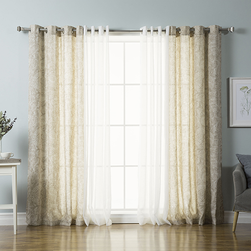 Rose Street Taupe Watercolor Paisley 84 x 52 In. Curtain Panel