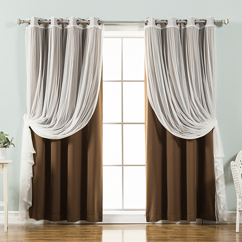 Rose Street Chocolate 52 x 84 In. Sheer Lace and Blackout Window Treatments, Set of Four