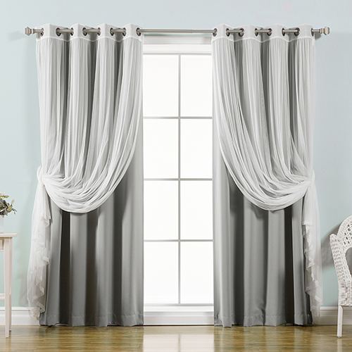 Grey 52 x 84 In. Sheer Lace and Blackout Window Treatments, Set of Four