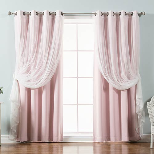 Light Pink 52 x 63 In. Sheer Lace and Blackout Window Treatments, Set of Four