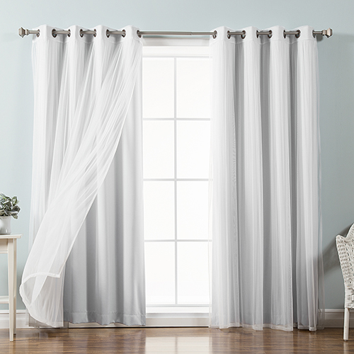 Rose Street Vapor 52 x 84 In. Sheer Lace and Blackout Window Treatments, Set of Four