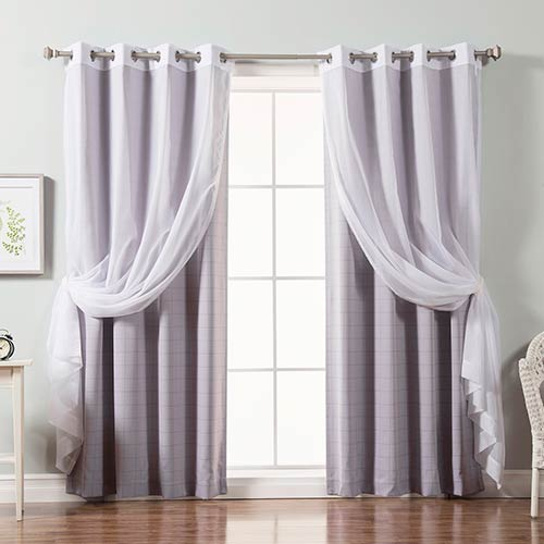 Rose Street Lilac Two Tone Plaid 84 x 52 In. Room Darkening Curtain Panel