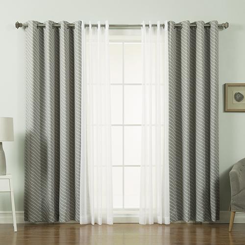 Rose Street Dove Diagonal Stripe 84 x 52 In. Curtain Panel