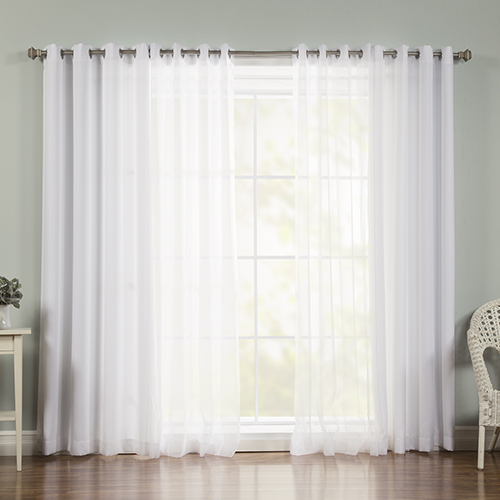 White Sheer 52 x 84 In. Window Treatments, Set of Four