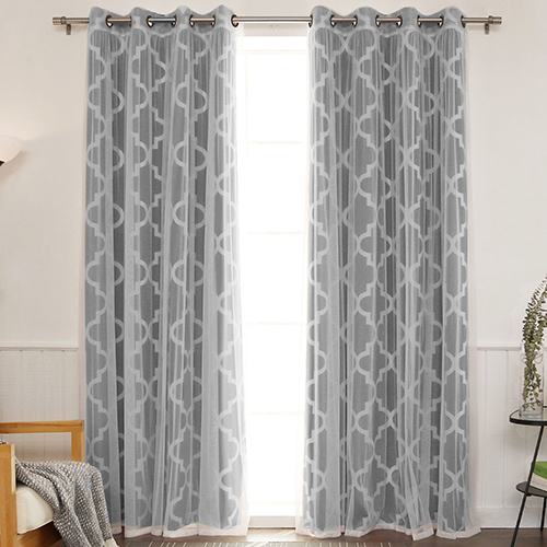 Rose Street Black 52 x 96 In. Sheer Lace and Blackout Window Treatments, Set of Four