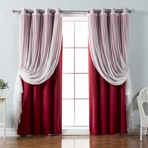 Rose Street Cardinal Red 52 x 96 In. Sheer Lace and Blackout Window Treatments, Set of Four