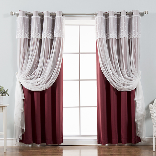 Rose Street Burgundy 52 x 84 In. Sheer and Solid Blackout Window Treatments, Set of Four