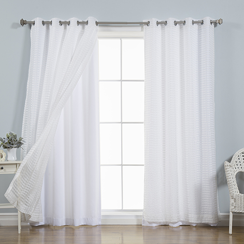 White Check 96 x 52 In. Sheer Curtain Set of Four
