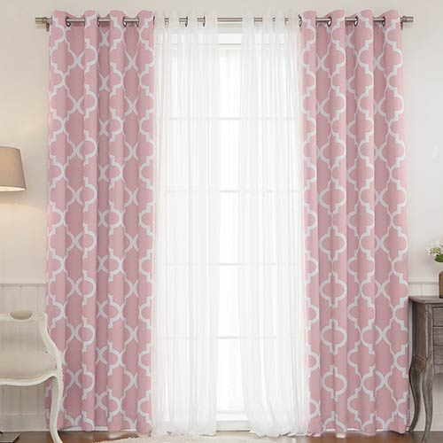 Rose Street Pink Moroccan 52 x 84 In. Lace Room Darkening Window Treatments, Set of Four