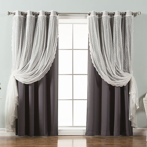 Rose Street Dark Grey Lace and Solid 96 x 52 In. Blackout Window Treatments, Set of Four