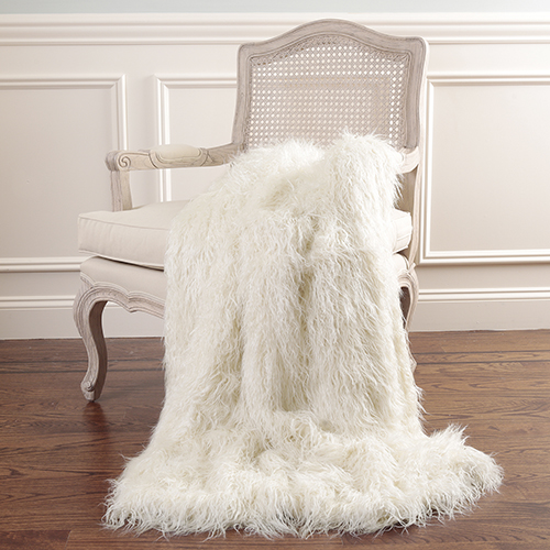 Faux Mongolian Lamb Fur Ivory Throw